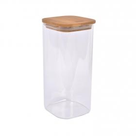 Tarro Borosilicato con tapa de bambú TABERSEO 2 l - Transparente