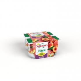 Preparado de soja con trozos de melocotón Sojasun sin lactosa pack de 4 unidades de 100 g.