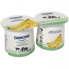 Yogur con zumo natural de platano Danone el Pastoreo pack de 2 unidades de 120 g.