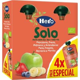 Preparado de manzana, fresa, platano y arándanos ecológica Hero Solo pack de 4 unidades de 100 g.