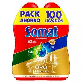 Lavavajillas máquina anti-grasa en gel Somat pack de 2 unidades de 50 lavados.