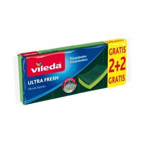 3 Estropajos Multiusos Fibra con esponja VILEDA  - Verde