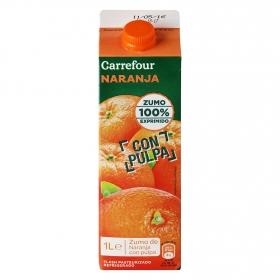 Zumo de naranja Carrefour exprimido con pulpa brik 1 l.