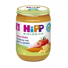 Tarrito de verduras con pasta y jamón desde 6 meses sin sal añadida ecológico Hipp 190 g.