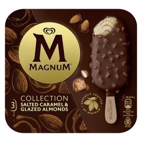 Bombón helado de caramelo salado y almendras glaseadas Magnum 3 ud.