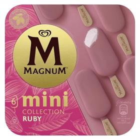 Mini bombón helado sabor chocolate blanco con frambruesa y cobertura Ruby Magnum 6 ud.
