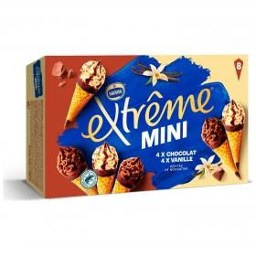 Mini conos con helado de vainilla y chocolate Extreme Nestlé pack de 8 unidades de 80 ml.
