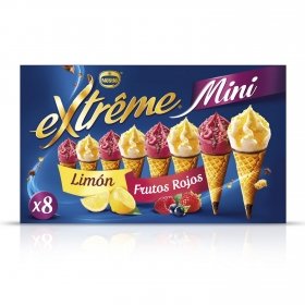 Mini conos con helado de limón y frutos rojos Nestlé pack de 8 unidades de 60 ml.