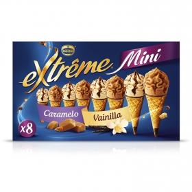 Mini conos con helado de vainilla y caramelo Nestlé pack de 8 unidades de 60 ml.