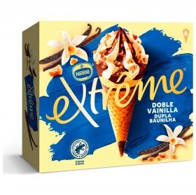 Conos con helado de doble vainilla con almendras Extreme Nestlé 6 ud.