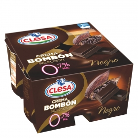 Crema desnatada de chocolate negro Clesa pack de 4 unidades de 125 g.