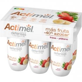 Yogur L.casei líquido más fruta y menos del 40% de azúcar fresa y plátano Danone Actimel pack de 6 unidades de 100 g.