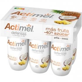 Yogur L.casei líquido más fruta menos del 40% azúcar piña y coco Danone Actimel pack de 6 unidades de 100 g.