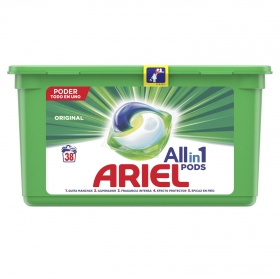Detergente en cápsula original Ariel 38 ud.