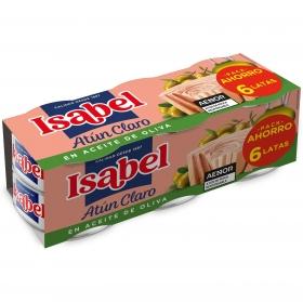 Atún claro en aceite de oliva Isabel sin lactosa pack de 6 latas de 52 g.