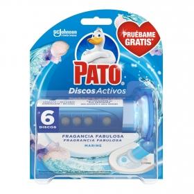 Discos wc activos inodoros frescor marino aparato + recambio Pato 1 ud.