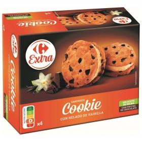 Sandwich cookie con helado de vainilla Carrefour Extra sin aceite de palma 4 ud.