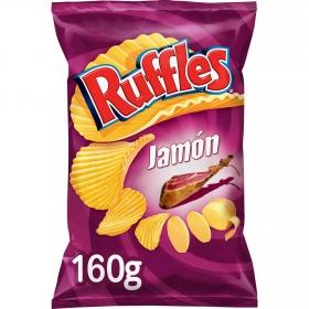 Patatas fritas onduladas sabor jamón Ruffles 160 g.