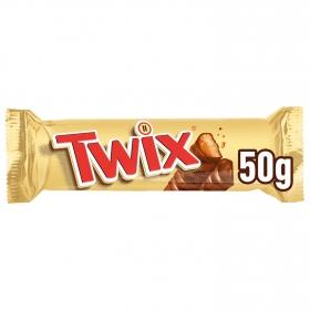 Barrita de chocolate y galleta rellena de caramelo Twix 50 g.
