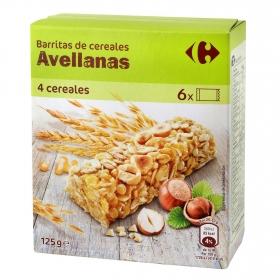 Barritas de cereales con avellana Carrefour 150 g.