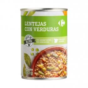 Lentejas con verduras con aceite de oliva Carrefour 400 g.