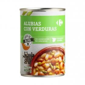 Alubias con verduras con aceite de oliva Carrefour 400 g.
