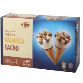 Conos con helado de vainilla y chocolate con trozos de almendras mini Carefour 8 ud.