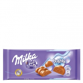 Chocolate con leche y burbujas bubbly Milka 90 g.