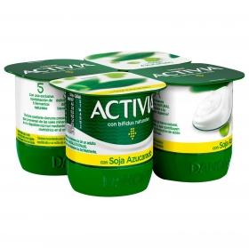 Yogur bífidus azucarado natural con soja Danone Activia pack de 4 unidades de 125 g.