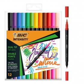Rotuladores y Marcadores Pincel BIC Intensity Dual Tip colores surtidos 12 uds
