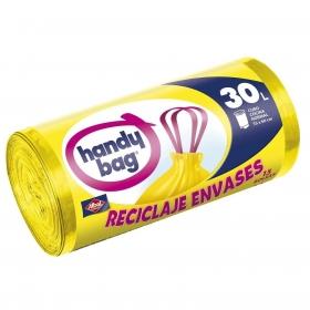 15 Bolsas de basura Reciclaje envases Handy Bag 30 Litros - Amarillas