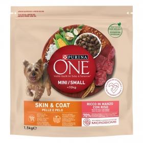 Pienso de buey y arroz para perro adulto Mini Purina One piel y pelaje 1,5 Kg.