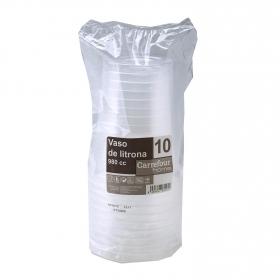 10 Vasos de Plástico CARREFOUR HOME  11,8x23cm - Transparente