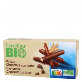 Palitos de chocolate con leche Carrefour Bio 125 g.