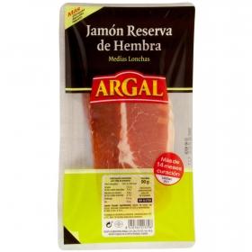Jamón reserva de hembra medias lonchas Argal sin gluten 90 g.