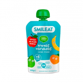 Preparado multifrutas desde 4 meses sin azúcar añadido ecológico Smileat sin gluten bolsita de 100 g.