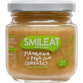 Tarrito de manzana y pera con cereales ecológico Smileat 130 g.