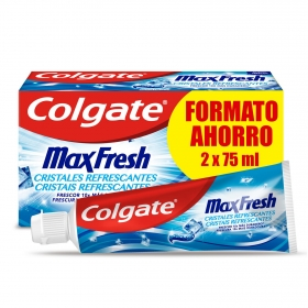 Dentífrico con cristales refrescantes max fresh Colgate pack de 2 unidades de 75 ml.