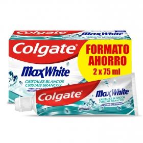 Dentífrico max white cristales blancos menta Colgate pack de 2 unidades de 75 ml.