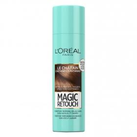 Tinte retoca raíces spray instantáneo castaño L'Oréal Magic Retouch 150 ml.