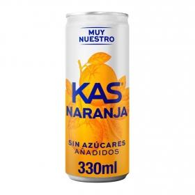 Refresco de naranja Kas con gas zero lata 33 cl.