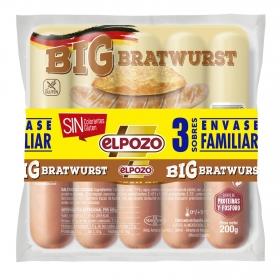 Salchichas BIG bratwurst El Pozo pack de 3 unidades de 200 g.