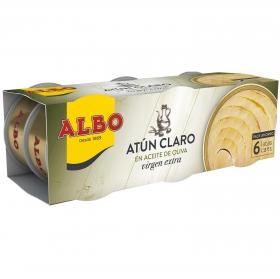 Atún claro en aceite de oliva virgen extra Albo pack de 6 latas de 54 g.