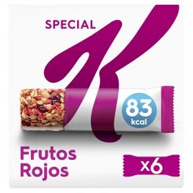 Barritas de cereales con frutas rojas Special K Kellogg's 6 unidades de 21,5 g.