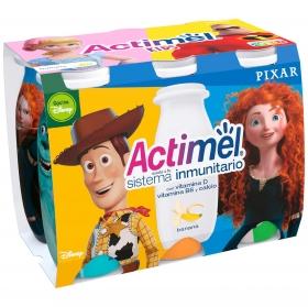 Yogur líquido de plátano Actimel Kids pack de 6 unidades de 100 g.