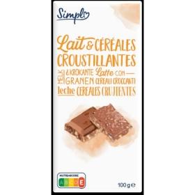 Chocolate con leche y cereales crujientes 100 g.