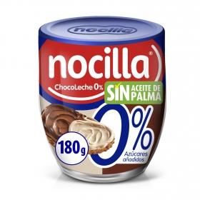 Crema de cacao y leche con avellanas sin azúcar añadido Nocilla sin gluten y sin aceite de palma 180 g.