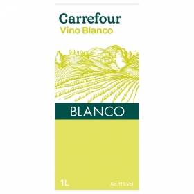Vino blanco de mesa Carrefour brik 1 l.