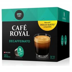 Café descafeinado en cápsulas Royal compatible con Dolce Gusto 16 unidades de 6,6 g.
