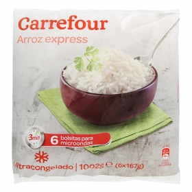 Arroz blanco precocido Carrefour pack de 6 unidades de 167 g.